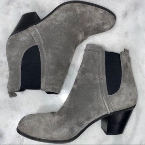 SAM EDELMAN SIZE 10 GRAY SUEDE HEELED BOOTIES